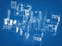 Floor Plan Architect Blueprint. Shoot Of The Floor Plan Architect Blueprint Stock Photo