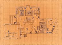 Floor Plan - Retro Blueprint. Shoot of the Floor Plan - Retro Blueprint Royalty Free Stock Photography