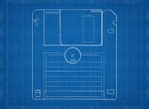 Floppy disk Architect blueprint. Shoot Of The Floppy disk Architect blueprint Royalty Free Stock Images