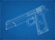 Gun 3D blueprint. Shoot of the Gun 3D blueprint vector illustration