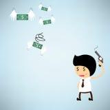 Shoot the gun at dollar bank flying Stock Photography