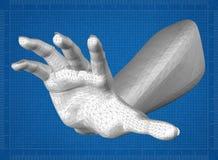 Hand 3D blueprint. Shoot of the Hand 3D blueprint Stock Images