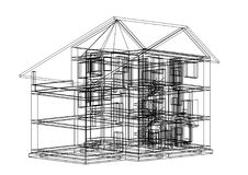 House 3D blueprint - isolated. Shoot of the House 3D blueprint - isolated Royalty Free Stock Photo