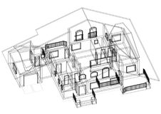 House 3D blueprint - isolated. Shoot of the House 3D blueprint - isolated Royalty Free Stock Photos