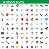 100 shoot icons set, cartoon style. 100 shoot icons set in cartoon style for any design illustration royalty free illustration