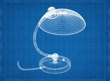 Lamp 3D blueprint. Shoot of the Lamp 3D blueprint stock image