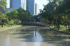 One of a bridge in Chatuchak Park royalty free stock photo