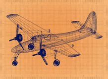 Light aircraft - Retro Blueprint. Shoot of the Light aircraft - Retro Blueprint royalty free illustration