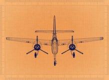 Light aircraft - Retro Blueprint. Shoot of the Light aircraft - Retro Blueprint stock illustration