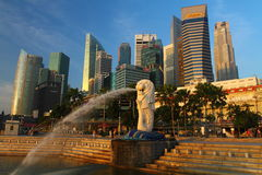 Merlion and CBD. Shoot of Merlion Singapore with CBD on background Royalty Free Stock Image