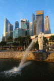 Merlion and CBD. Shoot of Merlion Singapore with CBD on background Royalty Free Stock Photos