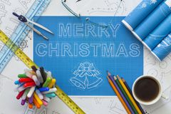Merry Christmas Blueprint Royalty Free Stock Photography