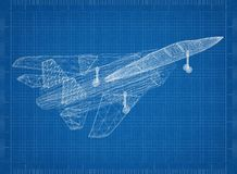 Military fighter plane Architect blueprint. Shoot Of The military fighter plane Architect blueprint Stock Image