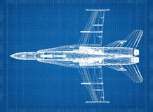 Military fighter plane Architect blueprint. Shoot Of The military fighter plane Architect blueprint Royalty Free Stock Images