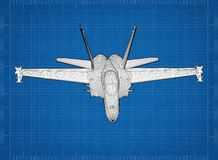 Military Plane 3D blueprint. Shoot of the Military Plane 3D blueprint Royalty Free Stock Photo