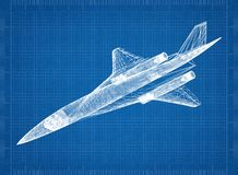 Military Plane 3D blueprint. Shoot of the Military Plane 3D blueprint Royalty Free Stock Photos