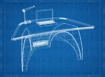 Modern computer desk 3D blueprint. Shoot of the Modern computer desk 3D blueprint Royalty Free Stock Image