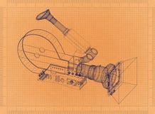 Movie camera - Retro Blueprint. Shoot of the Movie camera - Retro Blueprint Royalty Free Stock Image