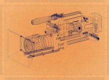 Movie camera - Retro Blueprint. Shoot of the Movie camera - Retro Blueprint Stock Images