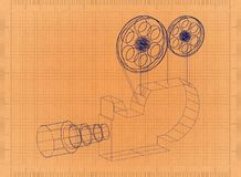 Movie projector - Retro Blueprint. Shoot of the Movie projector - Retro Blueprint Royalty Free Stock Photos
