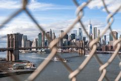 New York City behind cage stock photo