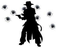 Shoot-out occidental del hondero del arma