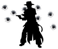 Shoot-out occidentale del dispositivo lubricante della pistola Fotografia Stock