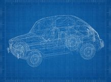 Retro Car Architect blueprint Stock Photos