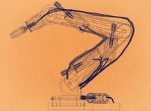 Robotic Arm Design - Retro Architect Blueprint. Shoot Of the Robotic Arm Design - Retro Architect Blueprint stock illustration