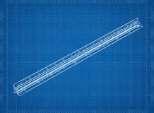Ruler 3D blueprint. Shoot of the Ruler 3D blueprint stock images
