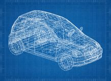 Small city car 3D blueprint. Shoot of the Small city car 3D blueprint Royalty Free Stock Image