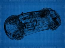 Sports car blueprint stock images download 5 photos sports car 3d blueprint shoot of the sports car 3d blueprint royalty free stock photo malvernweather Gallery