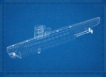 Submarine Architect blueprint vector illustration