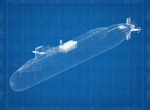 Submarine Architect blueprint. Shoot Of The submarine Architect blueprint stock photos