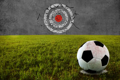 Shoot on target training. Soccer ball on penalty disk for shooting target training Stock Photo
