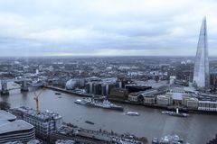 London`s skyline along the river. Shoot from the top of the sky garden in london. great view of the Thames river and the Shard as well. Starting from the left stock image