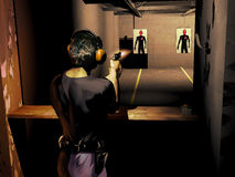Shoot training. Police officer shooting at human-shape silhouette as target into the training room Stock Images