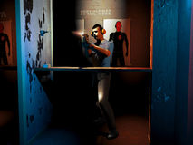 Shoot training. Police officer shooting at human-shape silhouette as target into the training room. At his back, exposed shapes of best scores Stock Images