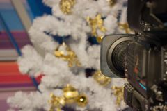 Shoot a video camera white Christmas tree with gold ornaments. pink background. Christmas shooting, festive mood. videographer`s stock image