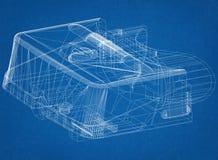 Virtual reality headset Architect Blueprint. Shoot Of The Virtual reality headset Architect Blueprint vector illustration