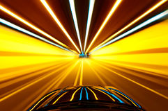 Shoot from the window of rush car,motion blur steet light. Royalty Free Stock Image