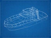 Yacht 3D blueprint royalty free illustration