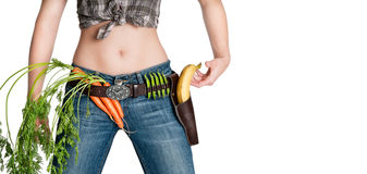 Shoot your kilos. Kill your kilos with fresh fruits and vegetables stock photos