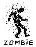 Shoot the zombies! Vector illustration. Scary character silhouette. The horror genre. White color background Stock Photos
