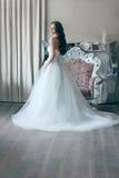 薄纱一套壮观的白色婚礼礼服的美丽的新娘有束腰的shooted  免版税库存图片