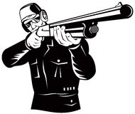 Shooter aiming  shotgun at you. Vector art on the outdoor sport of hunting and shooting Royalty Free Stock Image