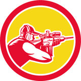 Shooter Aiming Telescope Rifle Circle Retro Stock Photography