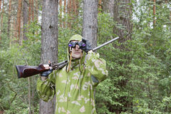 The shooter in camouflage Stock Photo