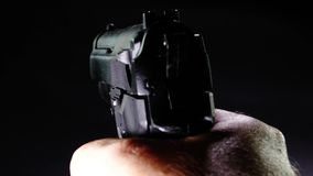 Shooter firing pistol from first person POV. Shooter firing 9mm pistol from first person POV stock footage