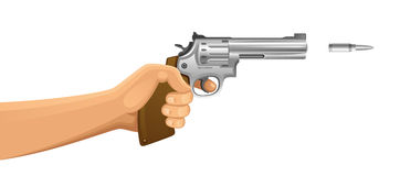 Shooter. Hand with gun on a white background Royalty Free Stock Photography